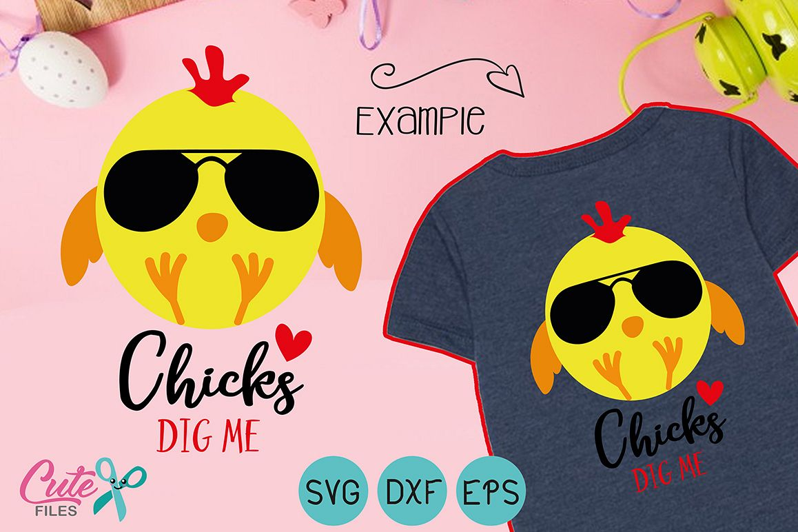 Chicks Dig Me, Easter party svg cut file example image 1