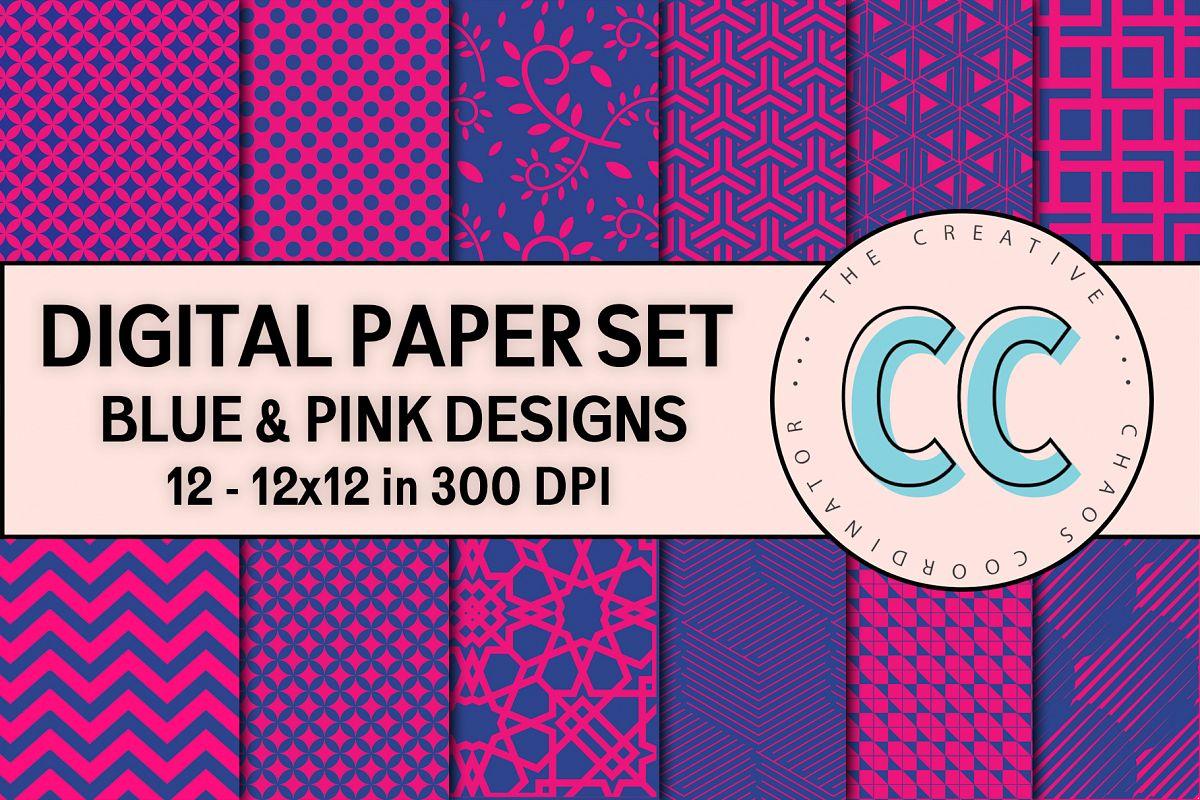 Pink & Blue Patterns - Digital Paper Pack example image 1
