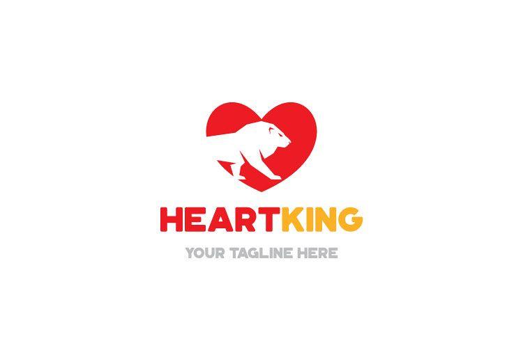 Lion Heart Shape Logo example image 1