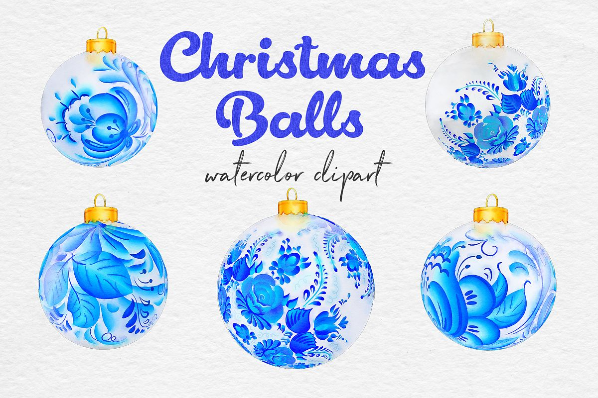 Watercolor Christmas Balls, Blue & White Ornaments example image 1