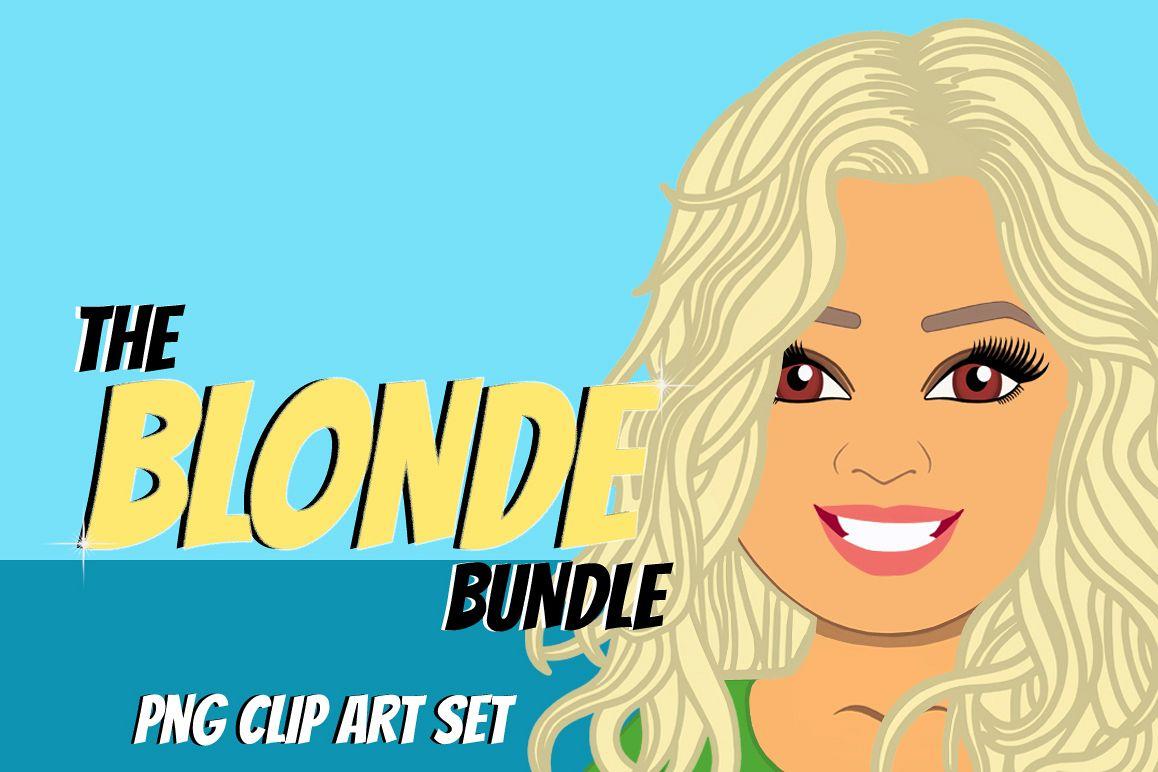 Blonde Woman Clip Art Bundle | Female Avatar | Graphic example image 1