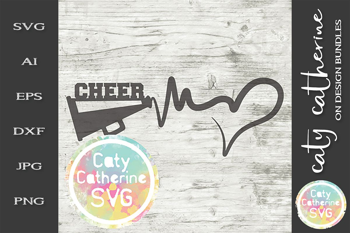 Heartbeat Love Heart Cheerleading Cheer SVG Cut File example image 1