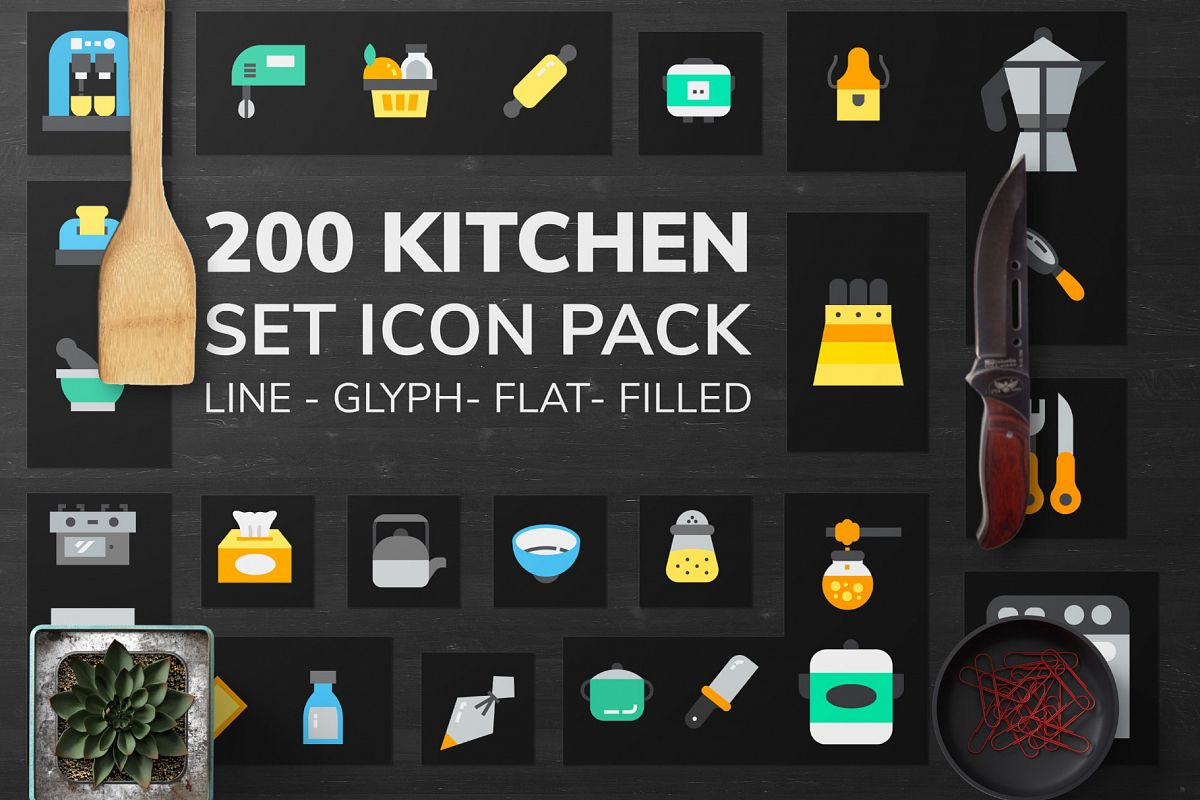 200 Kitchen Icon Pack example image 1