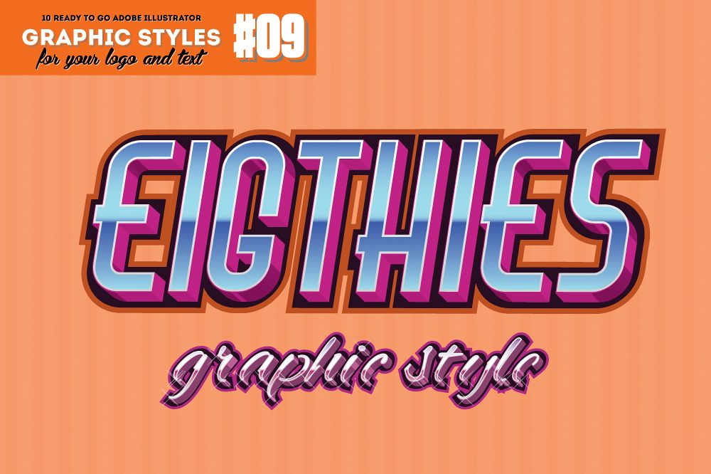 10 Eighties Decade Graphic Style for Adobe Illustrator example image 1