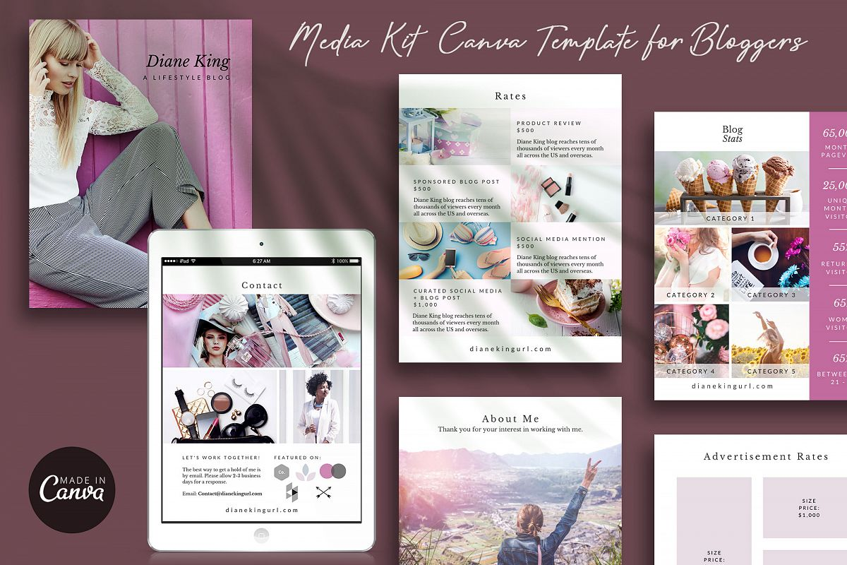 Media Kit Template for Canva | Ivy example image 1