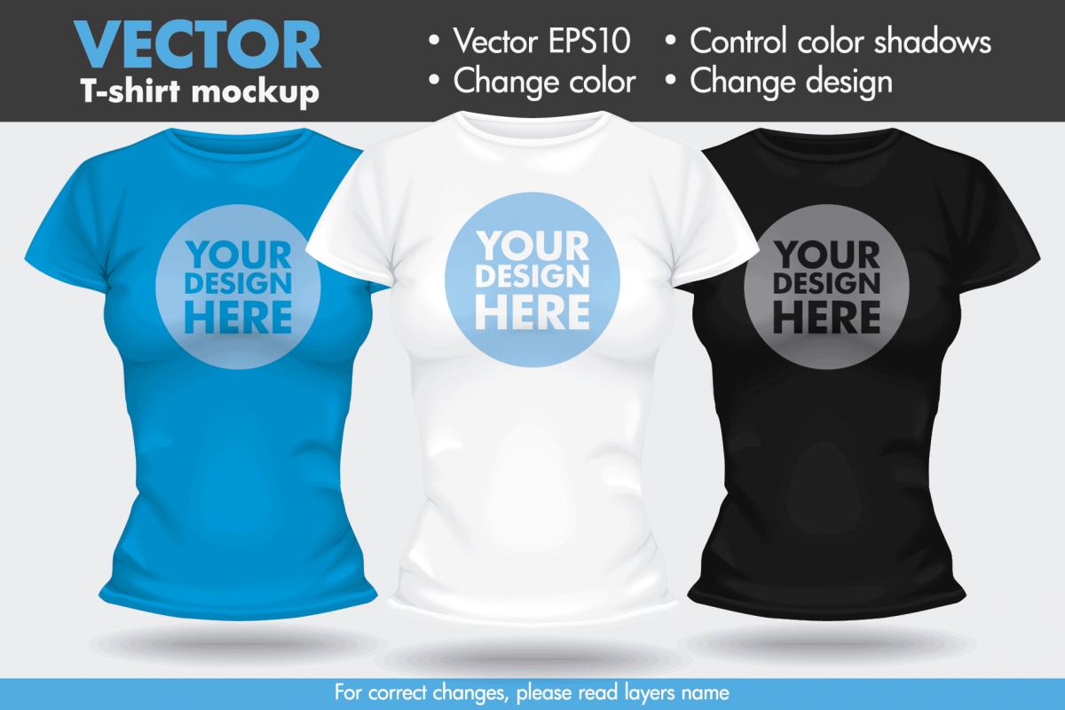 Vector T Shirt Template Mock Up Female Woman