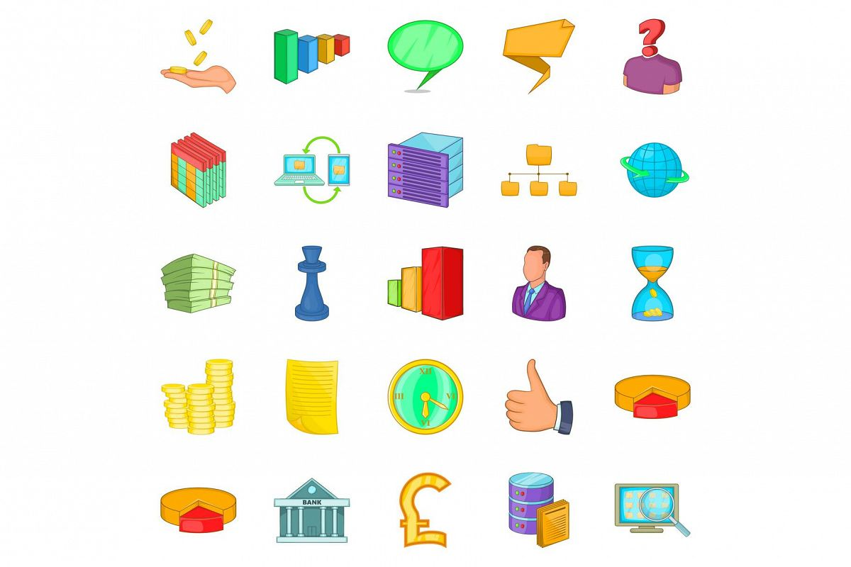 Employee search icons set, cartoon style example image 1