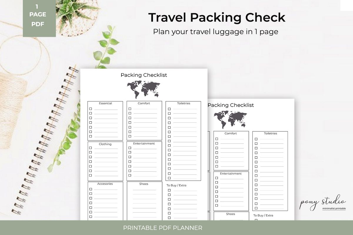 Travel Packing List Template A4 Pdf Printable