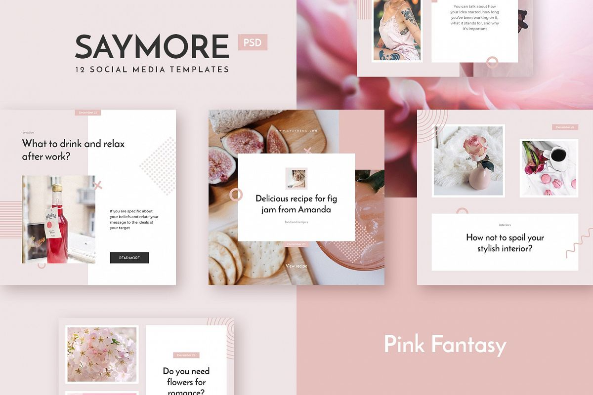 Saymore Pink Fantasy Templates example image 1