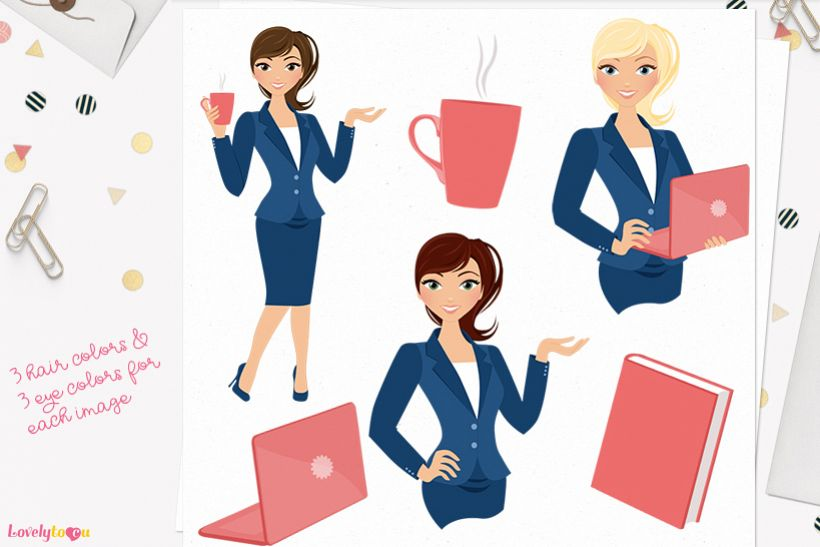 Woman business character clip art L107 Piper example image 1