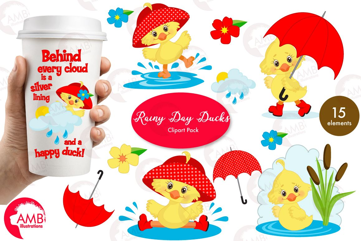 Rainy Day Ducks graphic, illustration, Clipart pack AMB-1823 example image 1