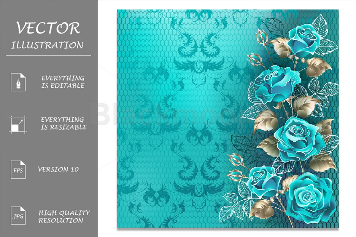 Composition with Turquoise Roses example image 1