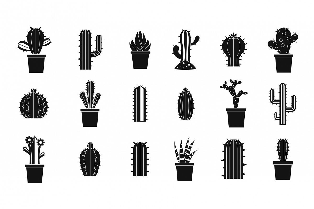 Cactus icon set, simple style example image 1