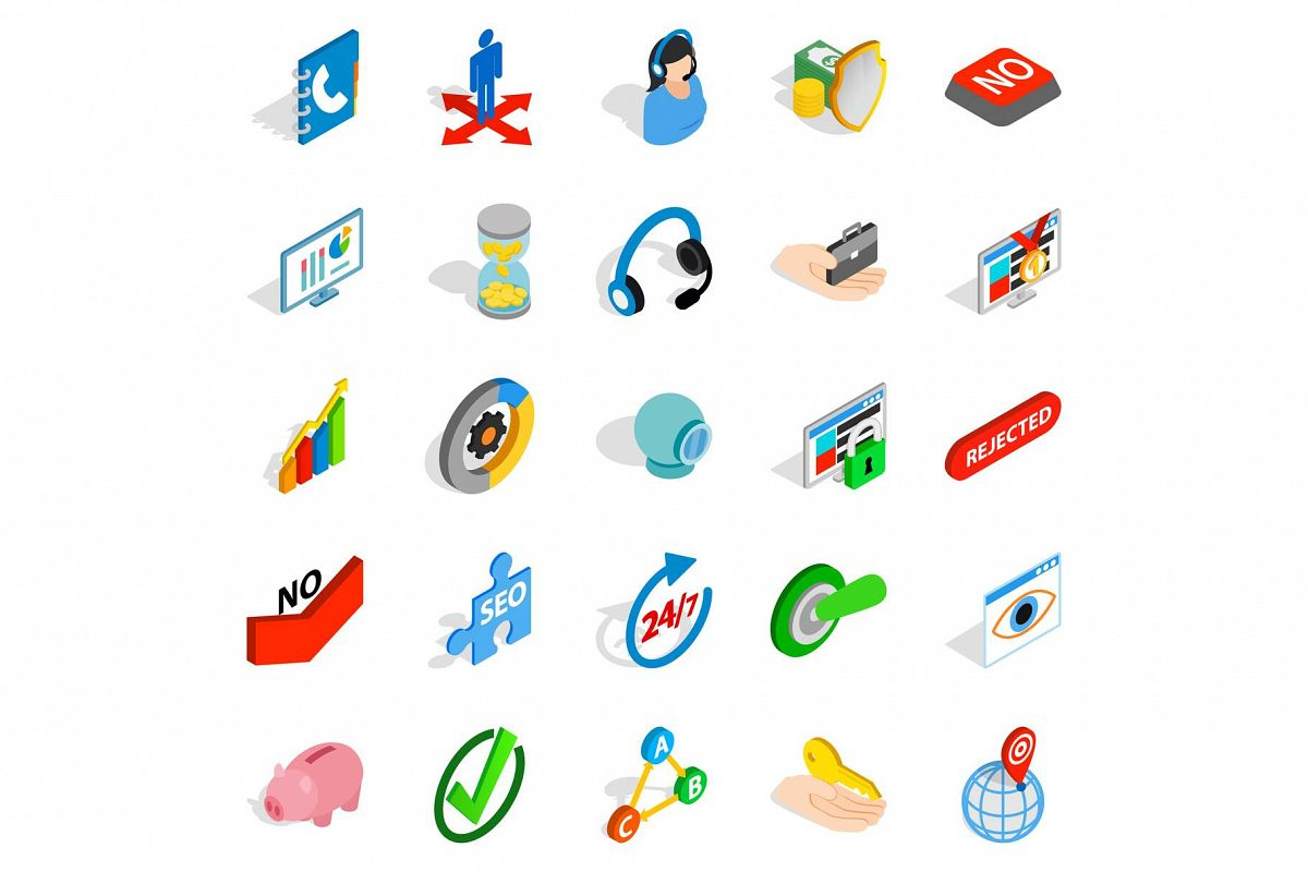 Business payment icons set, isometric style example image 1