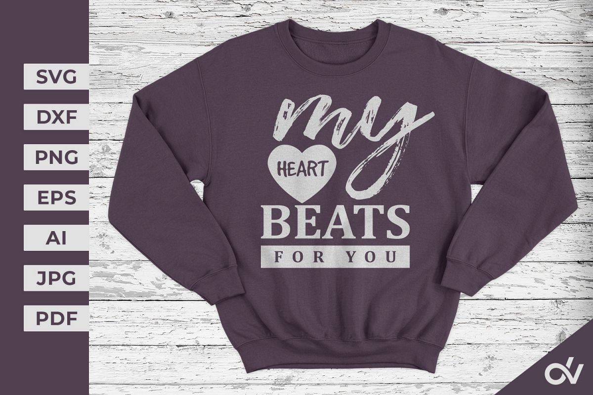 My Heart Beats For You - Valentines SVG example image 1