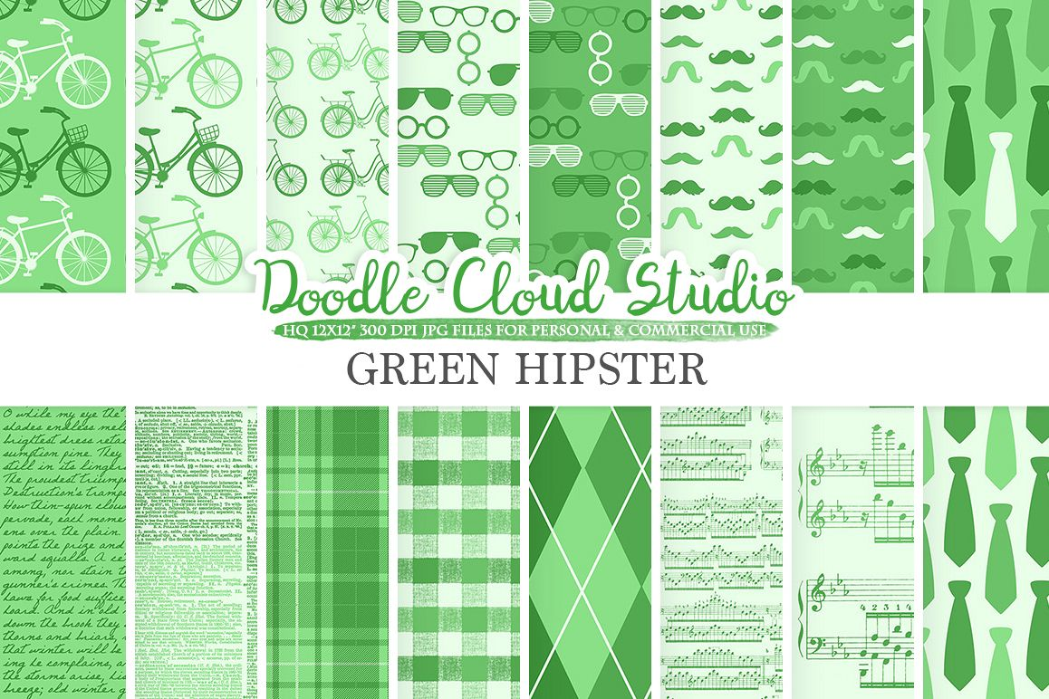 Dark Green Hipster digital paper, Vintage, Father's day tie mustaches bikes music glasses plaid, Instant Download, Personal & Commercial Use example image 1