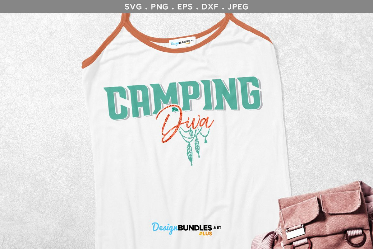 Camping Diva - svg & printable example image 1