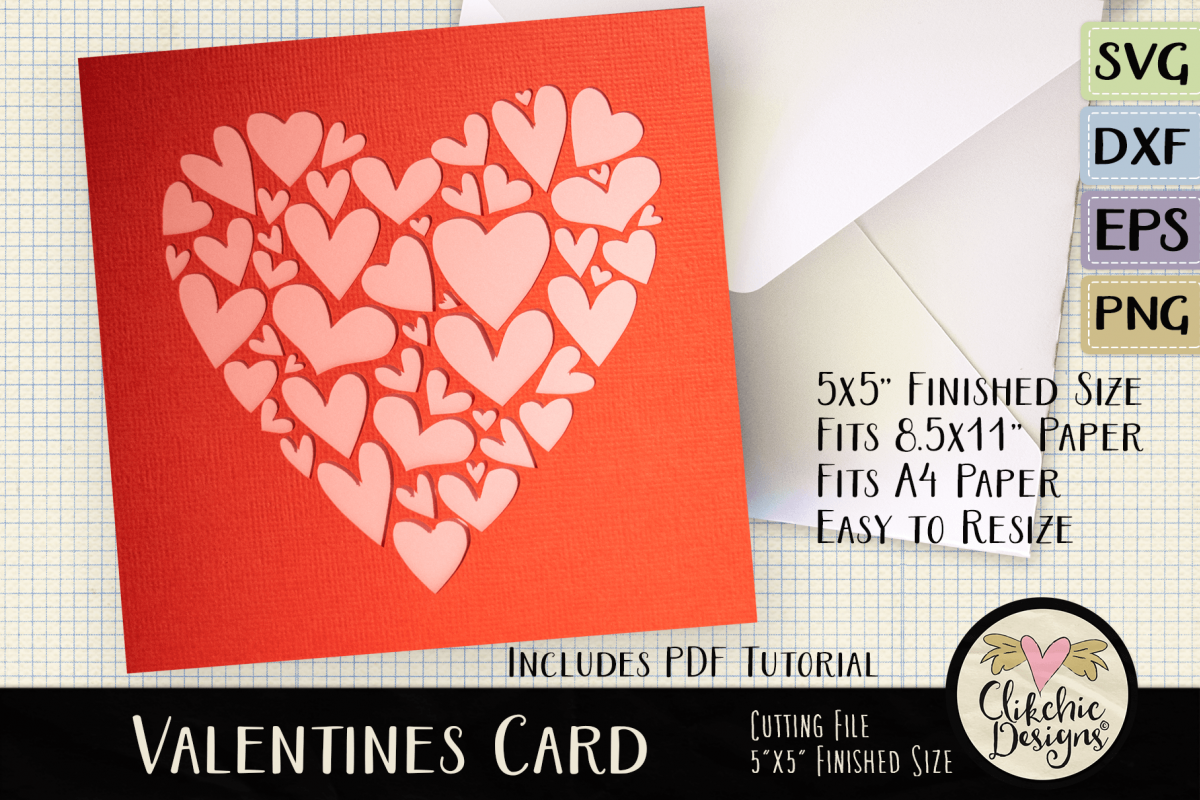 Valentine Hearts Card SVG - Love SVG Cutting File example image 1