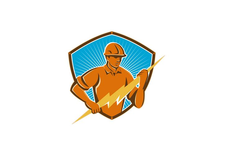 Electrician Construction Worker Retro example image 1