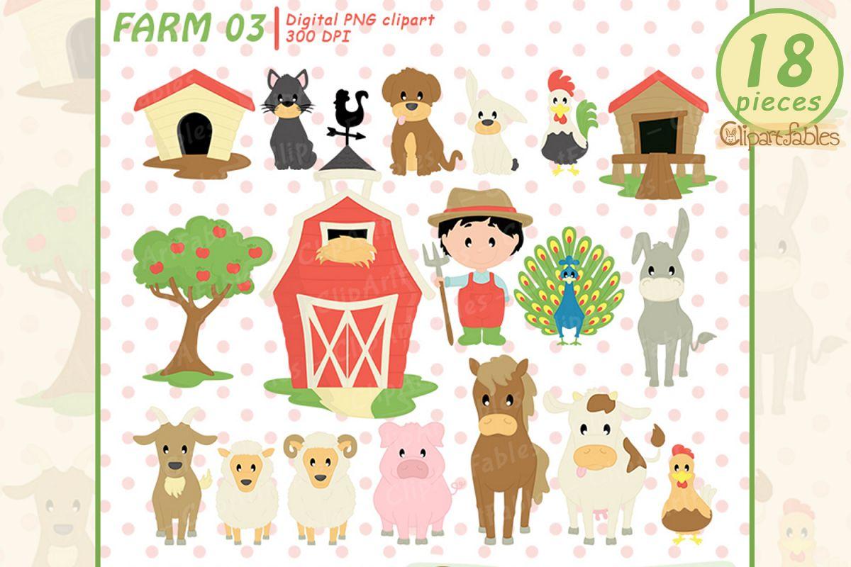 Farm clipart, nice barnyard clip art - instant download example image 1