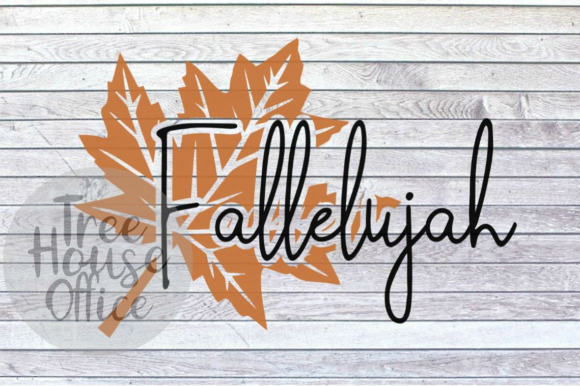 Fallelujah Happy Fall Leaf Autumn Leaves SVG PNG JPEG DXF example image 1