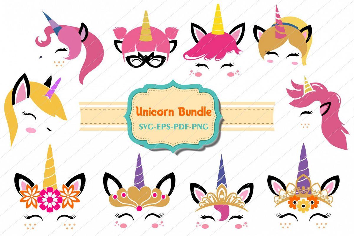 unicorn bundle, Unicorn svg, unicorn face cut files, licorne example image 1