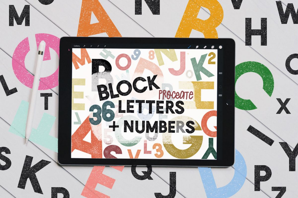 Textured Block Letters Numbers Stamp Brushes For Procreate