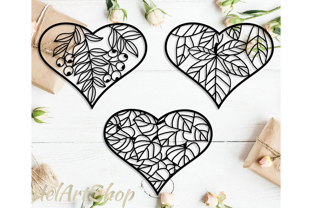 heart with leaves svg design example image 1