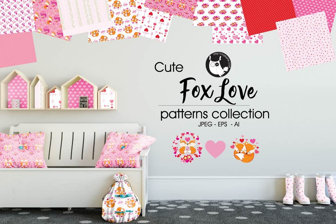 FOX-LOVE , digital papers example image 1
