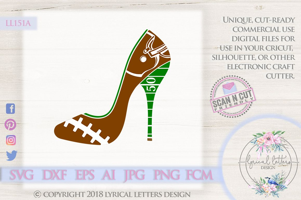 Football High Heel Shoe SVG DXF Cut File LL151A example image 1