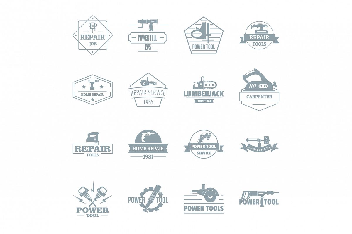 Electric tools logo icons set, simple style example image 1