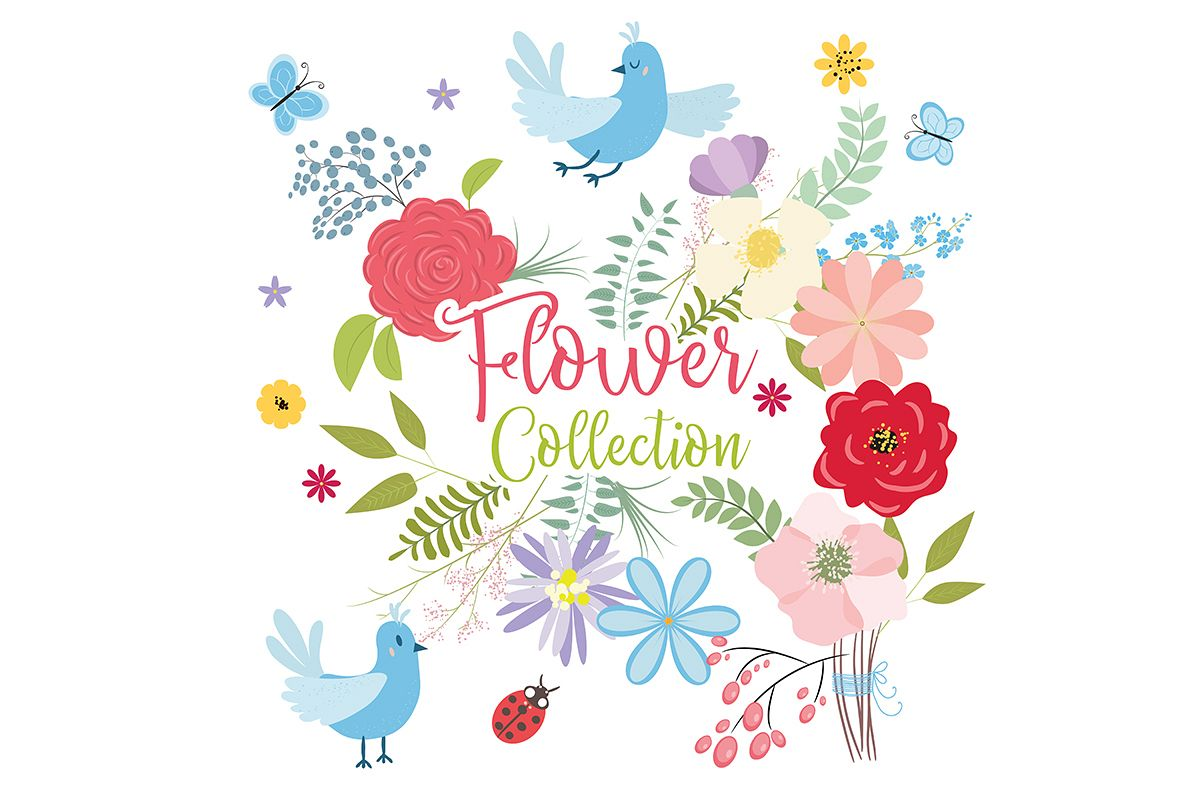 Flower collection. Vector set of plants, flowers and herbs. example image 1