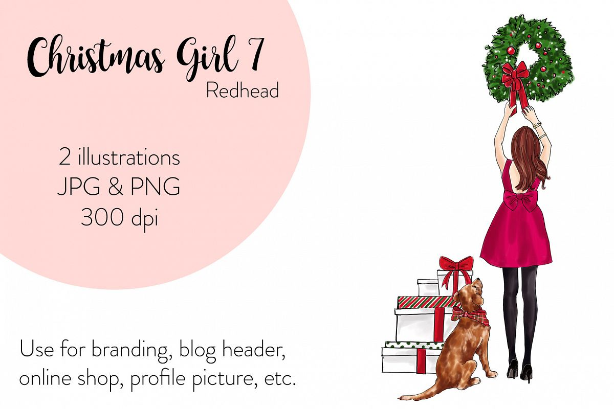 Fashion illustration - Christmas Girl 7 - Redhead example image 1