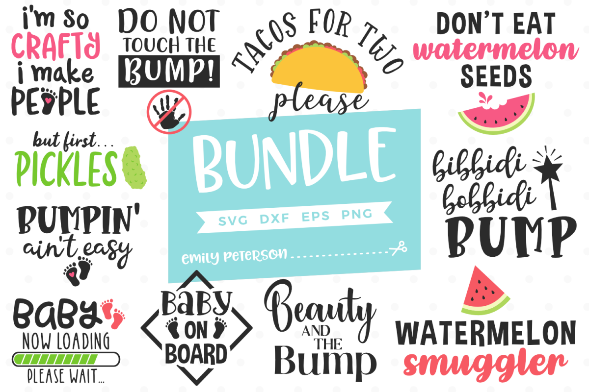 Pregnancy Bundle 11 Designs SVG DXF EPS PNG example image 1