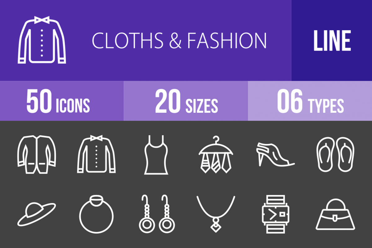 50 Clothes & Fashion Line Inverted Icons example image 1