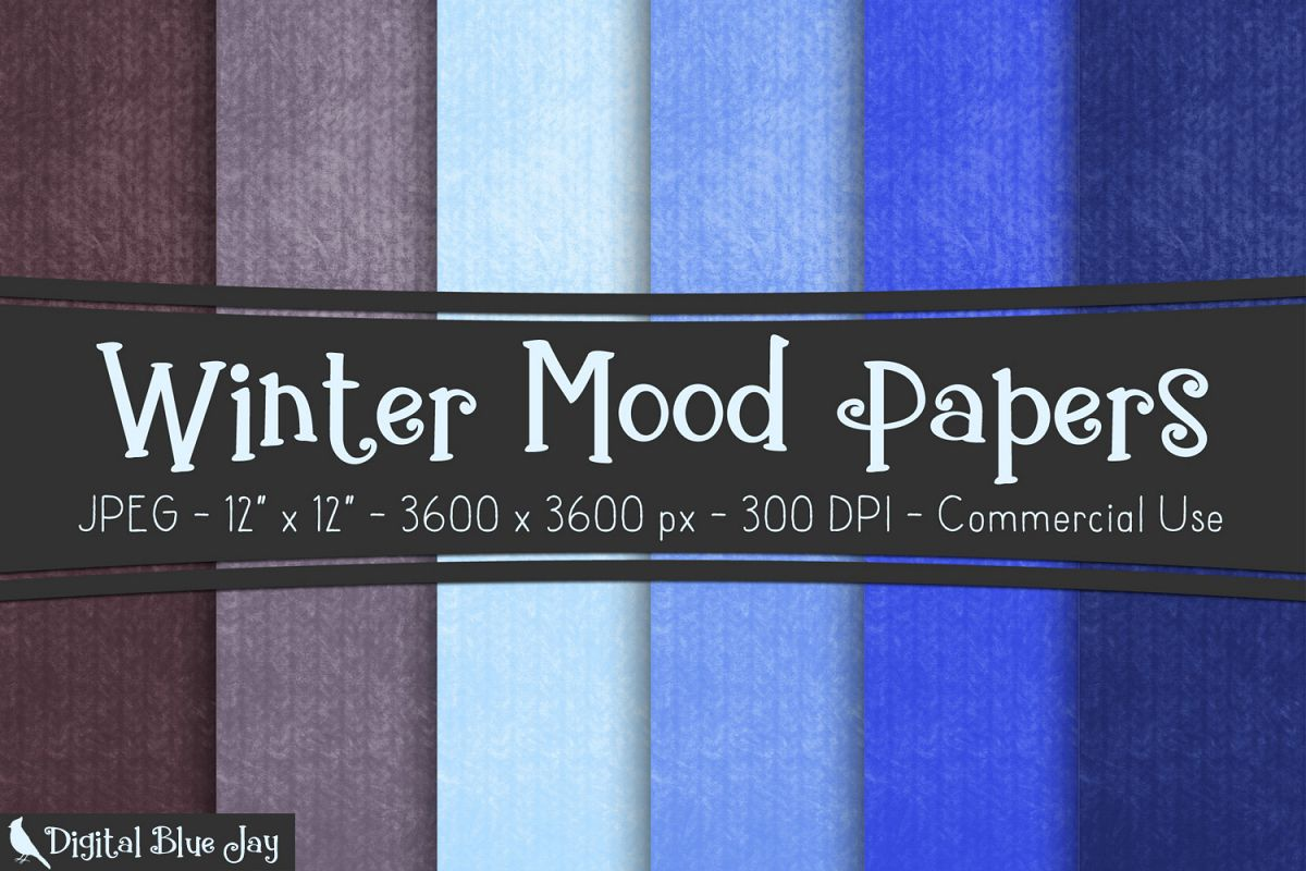 Digital Paper Textured Backgrounds - Winter Mood example image 1