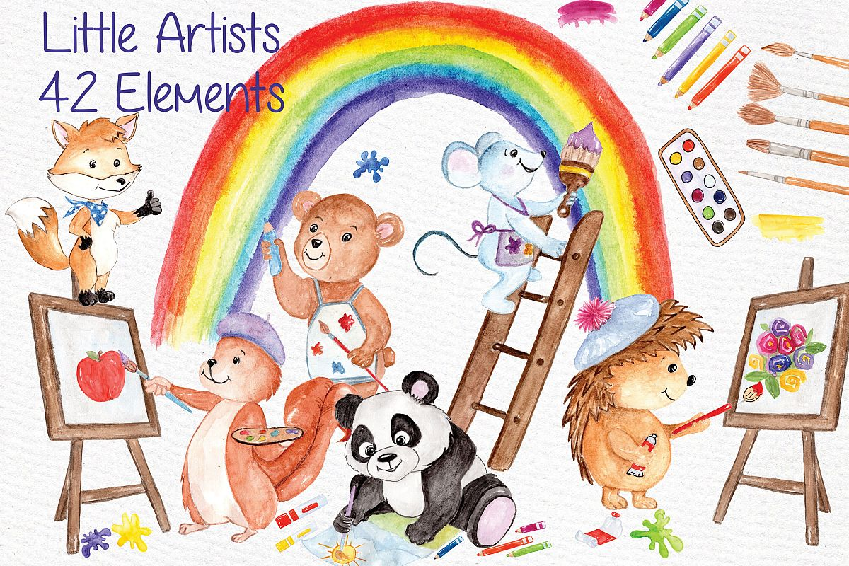 Watercolor animals kids clipart example image 1