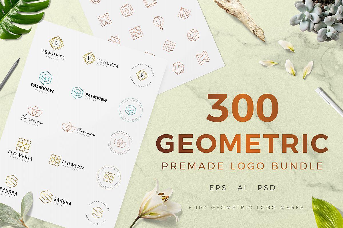 300 Geometric Premade Logo Bundle example image 1