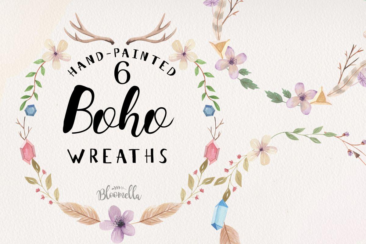 Boho Wreaths Leaves 6 Wreath Watercolor Bohemian Feathers example image 1