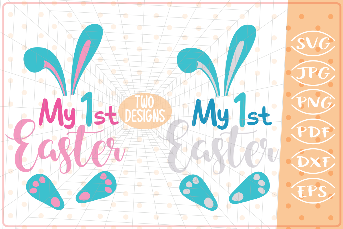 My First Easter-2 Designs-Girl, Boy,Cutting Files,Easter SVG example image 1