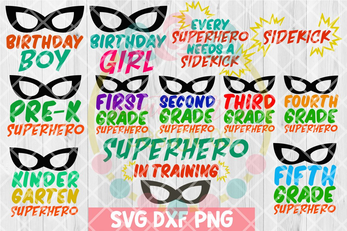 Kids Superhero Bundle SVG DXF PNG 12 Cutting Files example image 1