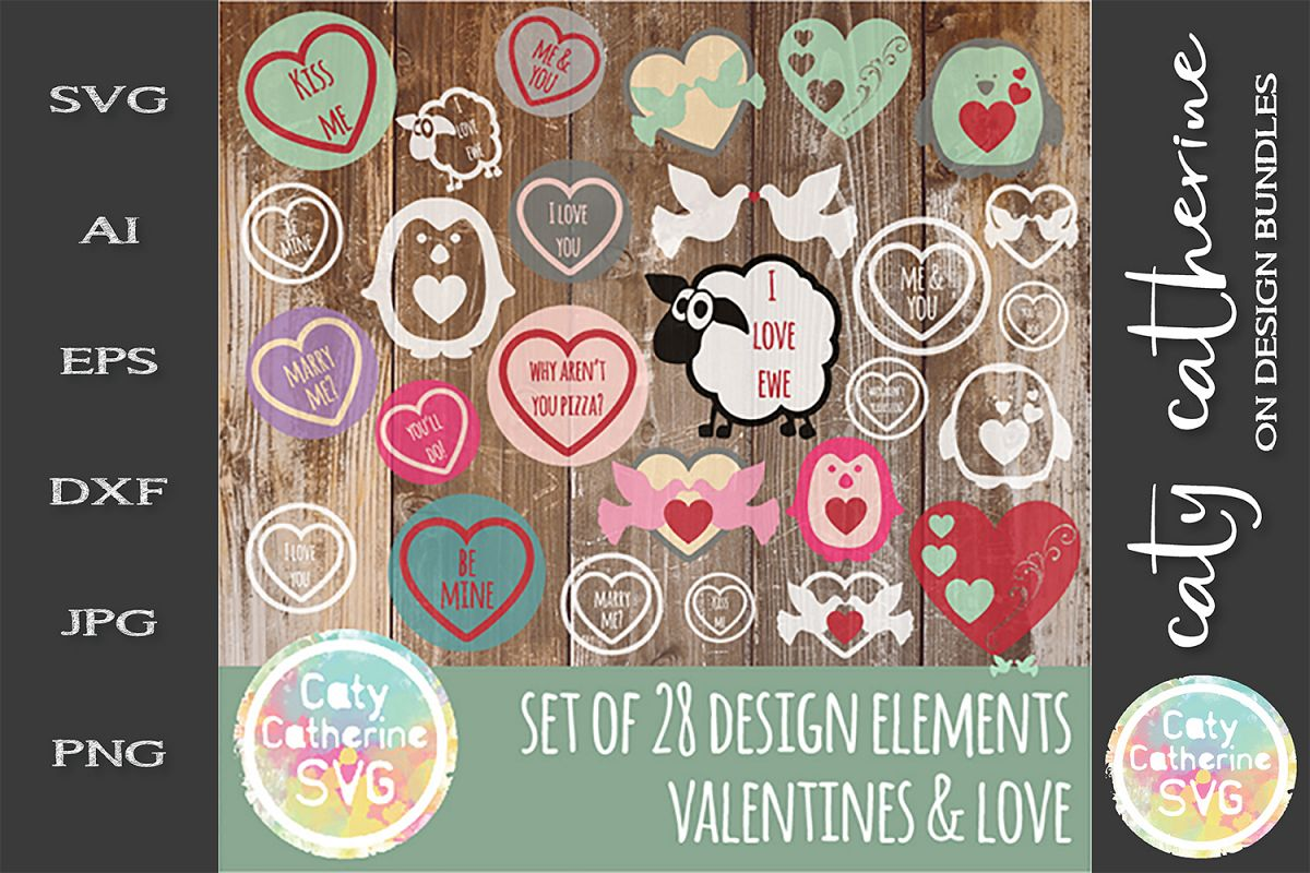 Full Set Design Elements Love & Valentines SVG 28 Designs example image 1