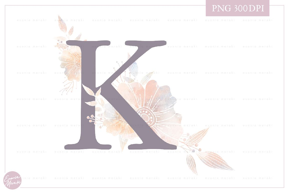 Letter K Floral MONOGRAM - dusty color flower initial example image 1