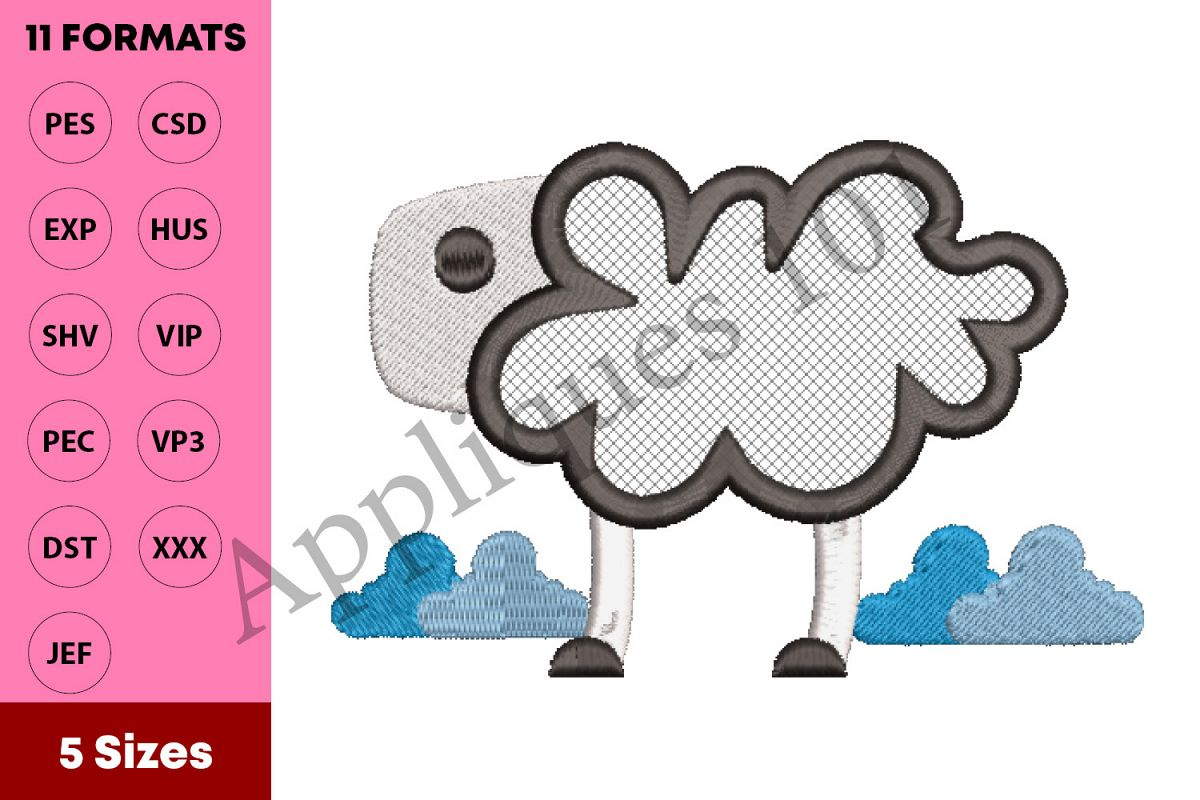 Cartoon Sheep Machine Embroidery Applique Design - Animals example image 1