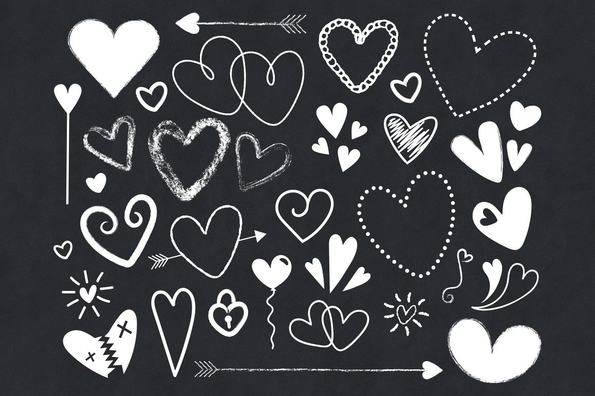 Black and White Silhouette Scribble Heart Clip Art Set example image 1