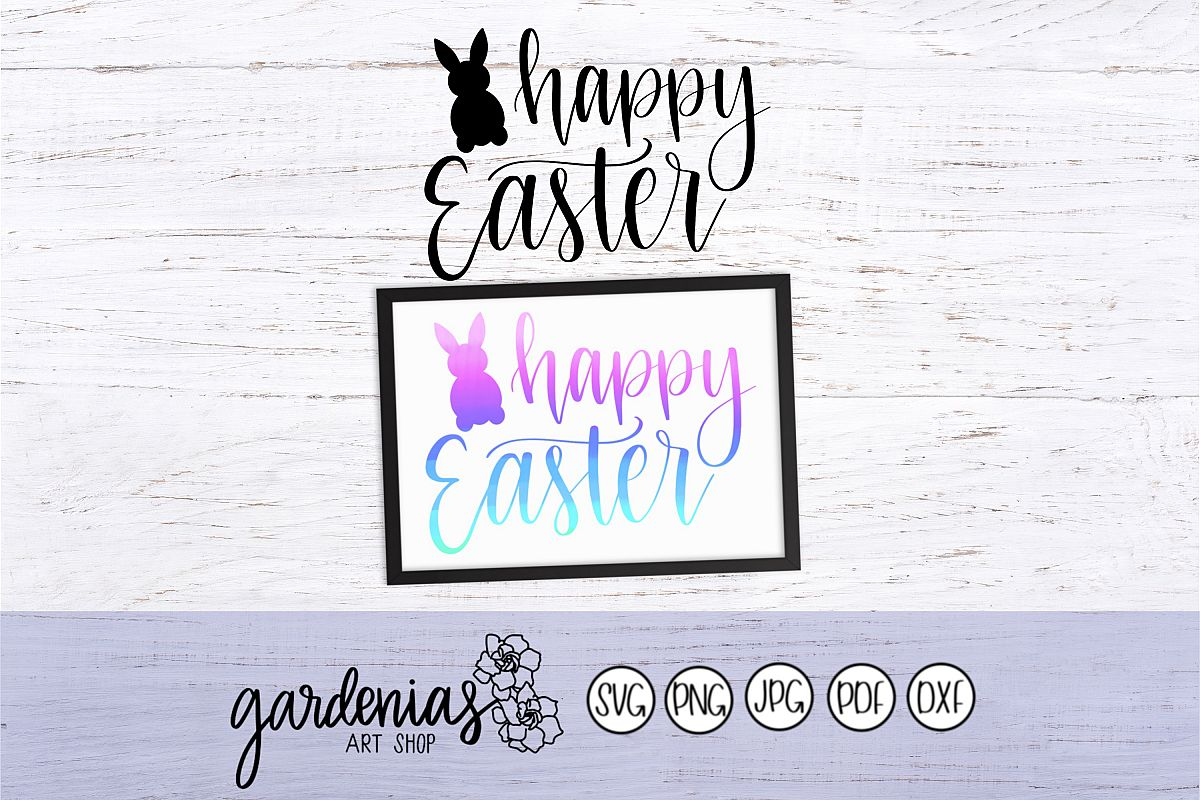 Happy Easter with Bunny Outline example image 1
