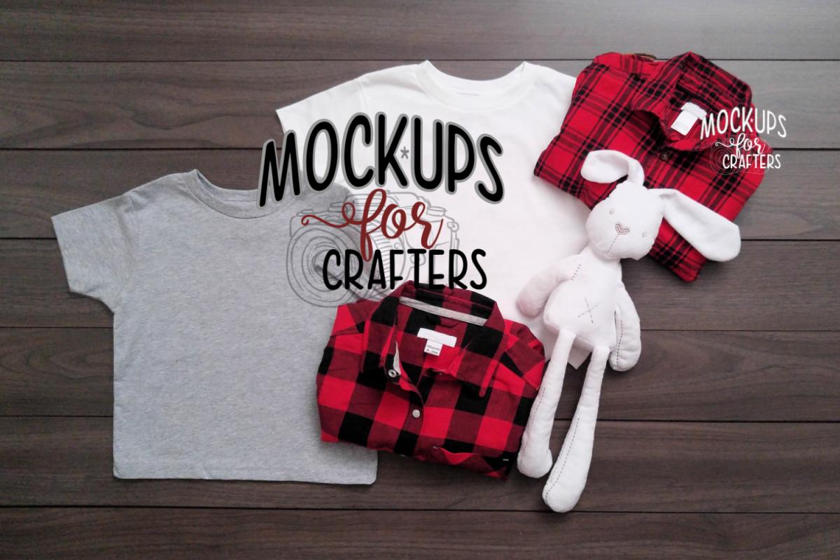 Gray & White Gildan Kid's Tshirt Mockup example image 1