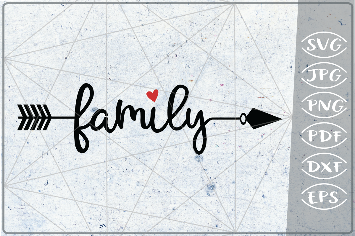 Family Arrow SVG Crafters Printables Svg Png Jpg Pdf Eps Dxf example image 1