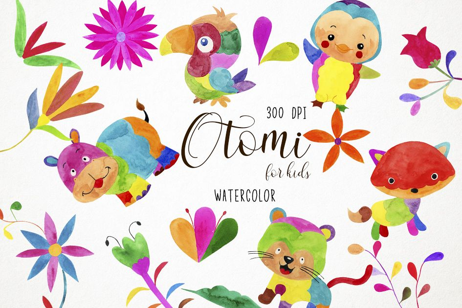 Watercolor Otomi Clipart, Mexican Clipart, Otomi Clip Art example image 1
