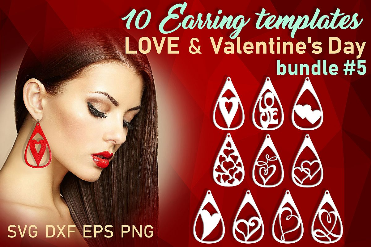 10 Leather earring bundle svg Teardrop earring Necklace example image 1